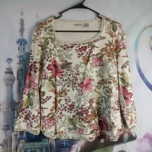 White stag floral print shirt